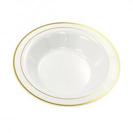 Assiette en Plastique Creuse Dur avec Liseré Doré 23cm (200 Utés)