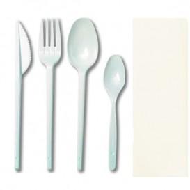 Kit  Fourchette, petite et grande Cuillère, Couteau e Serviette (25 Utés)