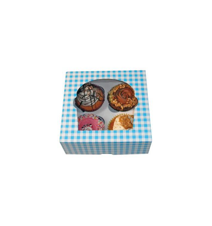 Boîte pour 4 Cupcakes Bleu avec insert (20 Unités)