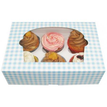 Caja con Soporte para 6 Cupcakes Azul B-20 (100 Unidades)