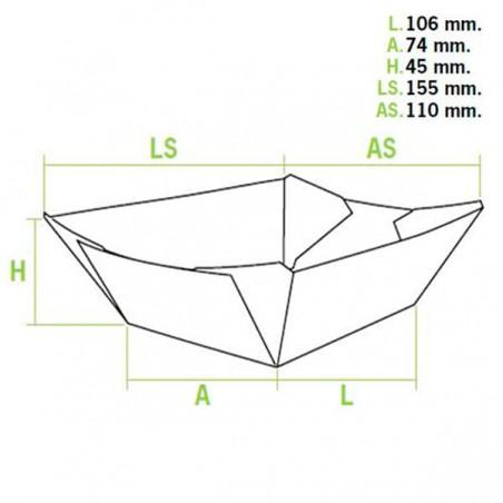 Barquette 350cc Kraft 10,6x7,3x4,5 cm (25 Unités)