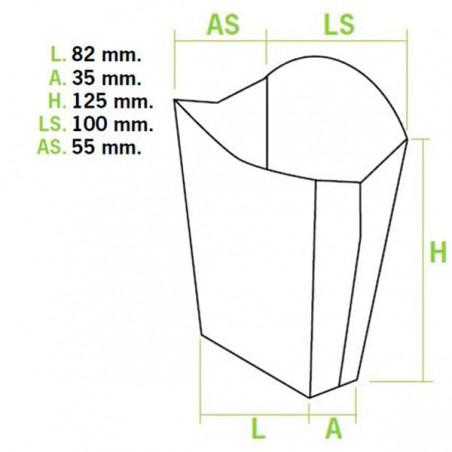 Etui à Frites Moyen Blanc 8,2x4,2x12,5cm (25 Unités)