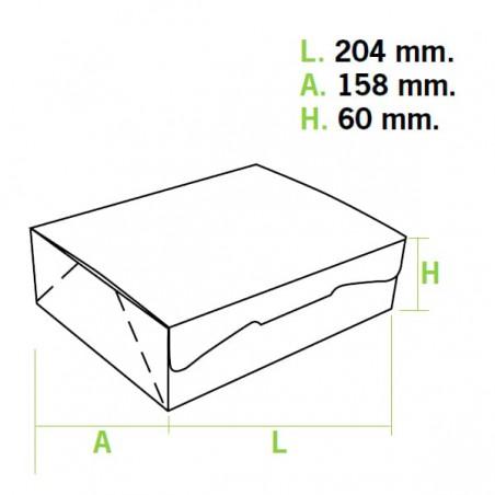 Boîte pâtissière 20,4x15,8x6cm 1Kg. Blanc (5 Utés)