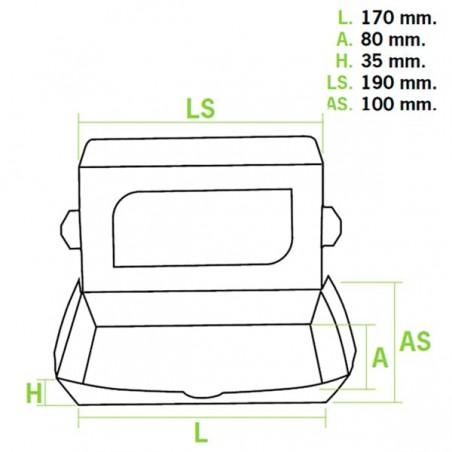 Barquette carton 19x10x3,5cm 480cc (10 Utés)