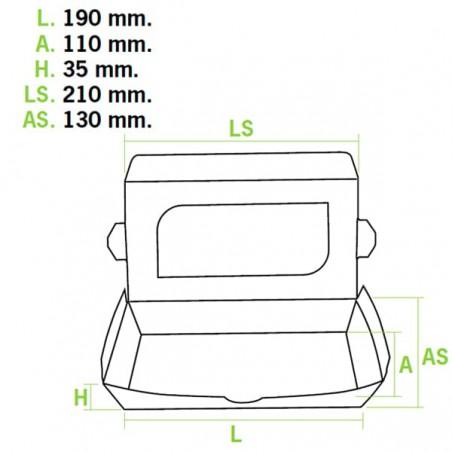 Barquette carton 21x13x3,5cm 730cc (10 Utés)