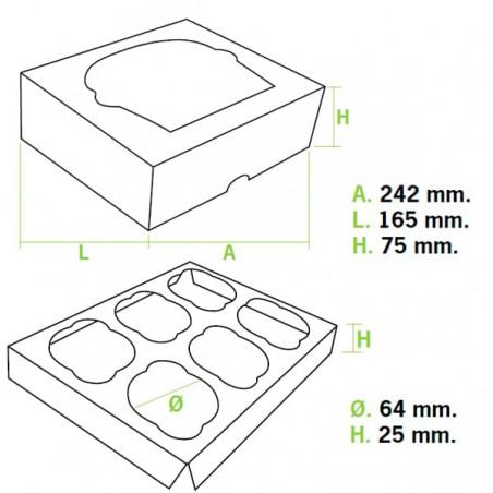 Boîte pour 6 Cupcakes Blanc avec support (100 Unités)