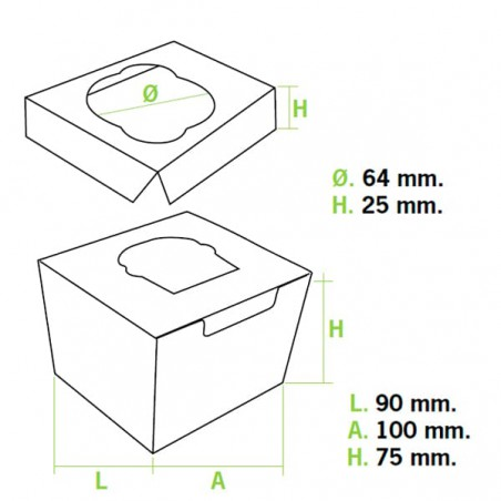 Boîte pour 1 Cupcakes Rose avec insert (20 Utés)