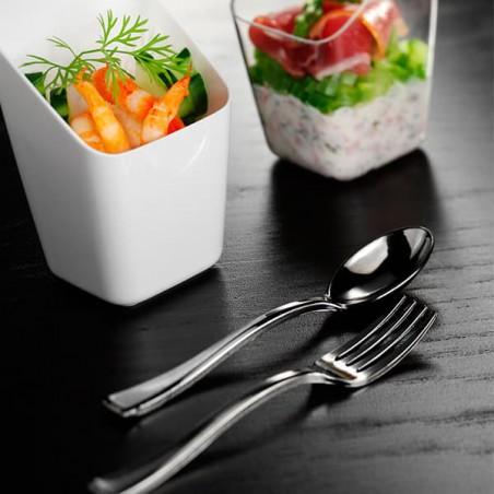Mini Cuillère Argentée en plastique 10cm (100 unités)
