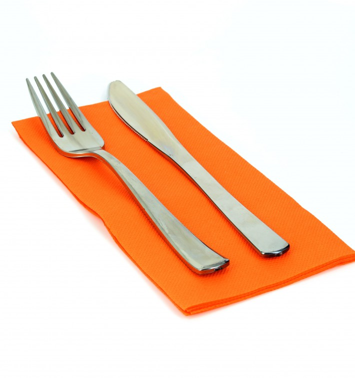 Serviette en papier molletonnée 1/8 40X40 ORANGE (50 Unités)