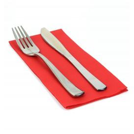 Serviette Papier Molletonnée 1/8 40X40 Rouge  (50 Unités)