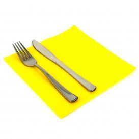 Serviette en papier Molletonnée 40X40 Jaune (50 Unités)