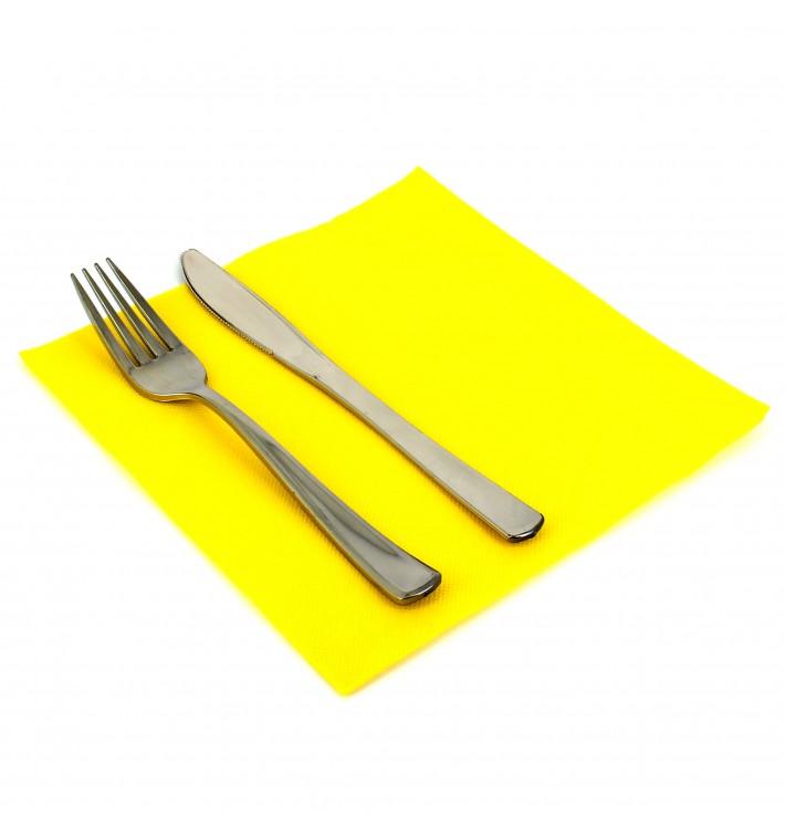 Serviette en papier Molletonnée 40X40 Jaune (1.200 Unités)