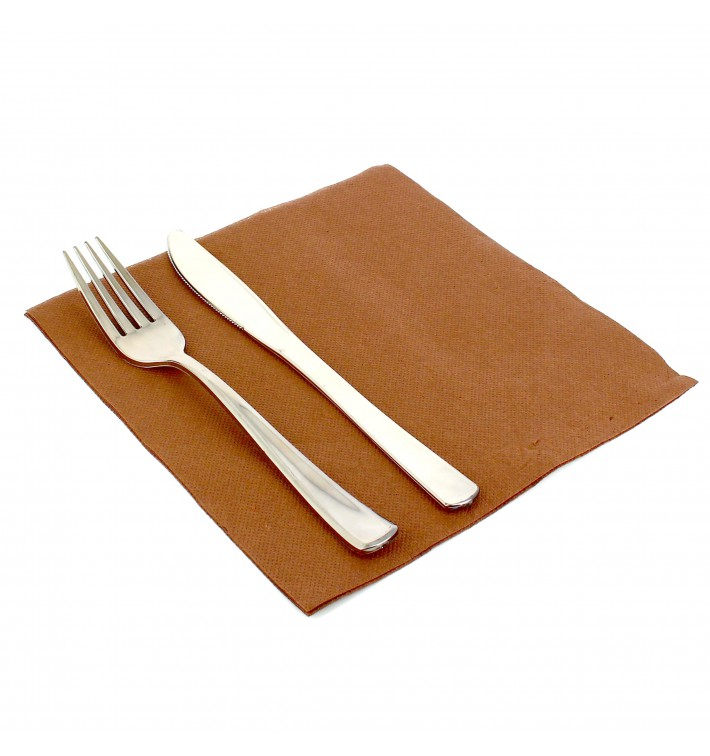 Serviette en Papier molletonnée 40x40 Marron ( 50 Unités)