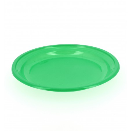 Assiette Plate Plastique Verte 205mm (10 Unités)