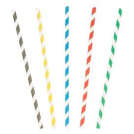 Paille Droite Papier Ø6mm 20cm couleur rayé (6000 Utés)
