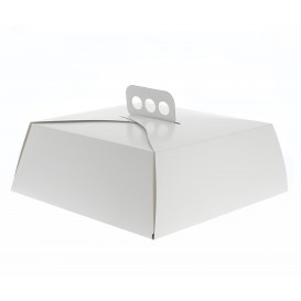 Boîte en carton Blanc Tarte Carrée 24,5x24,5x10 cm (50 Utés)