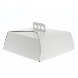 Papieren cake doosje Vierkant wit 24,5x24,5x10cm (50 stuks)
