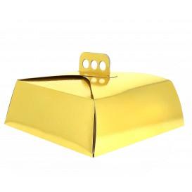 Papieren cake doosje Vierkant goud 24,5x24,5x10cm (50 stuks)