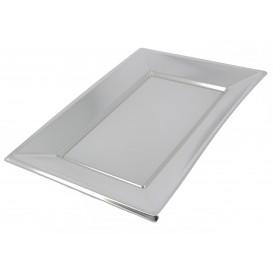 Plastic dienblad zilver 33x23cm (12 stuks)
