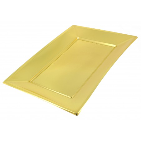 Plateau Plastique Doré rectang. 330x 225mm (2 Utés)
