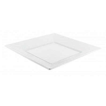 Assiette Plastique Carrée Plate Blanche 230mm (375 Utés)