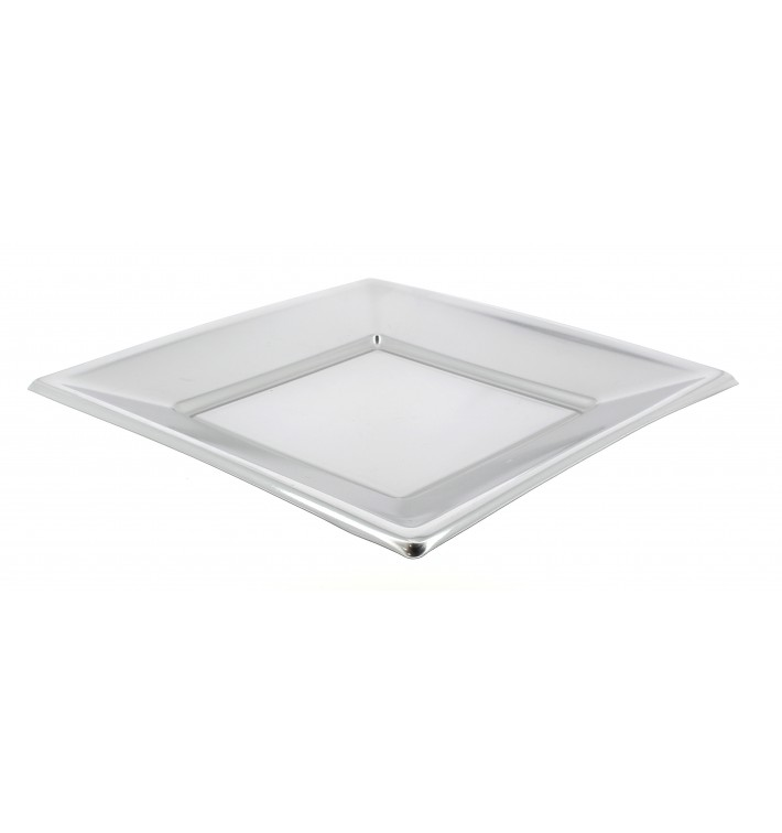 Assiette Plastique Carrée Plate Argenté 180mm (150 Utés)