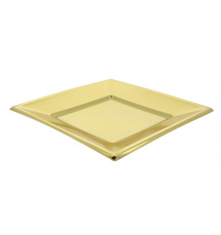 Assiette Plastique Carrée Plate Dore 230mm (90 Utés)