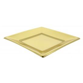 Assiette Plastique Carrée Plate Dore 230mm (3 Unités)