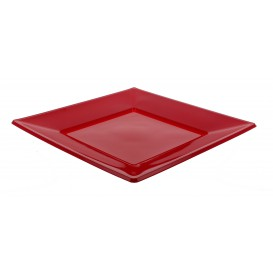 Plastic bord Plat Vierkant bordeauxrood 23 cm (25 stuks)