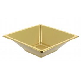 Plastic kom PS Vierkant goud 12x12cm (5 stuks)