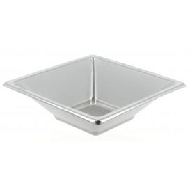 Plastic kom PS Vierkant zilver 12x12cm (300 stuks)