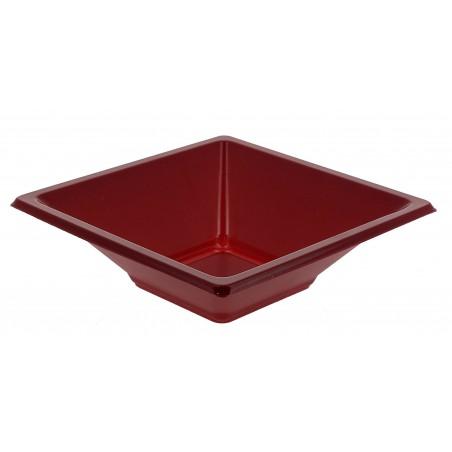 Bol carré plastique bordeaux 120x120x40mm (360 Utés)