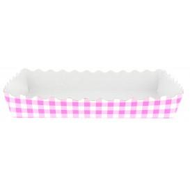 Papieren dienblad voor een wafel gesloten 18,2x12,2x3cm roze (25 stuks)