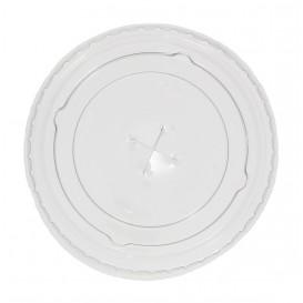 Plastic platte Deksel met kruis PET kristal Ø7,3cm (125 stuks)