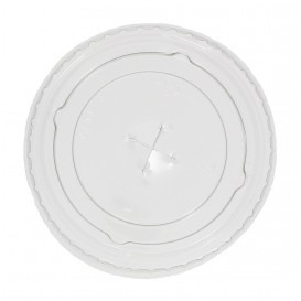 Plastic platte Deksel met kruis PET kristal Ø7,3cm (2.500 stuks)
