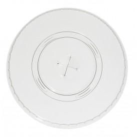 Plastic Deksel met kruis PET Plat Ø9,8cm (100 stuks)