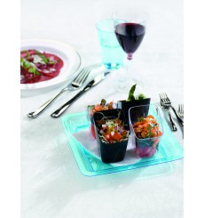 Assiette carrée en plastique dur Noir 18x18 cm (20 Utés)