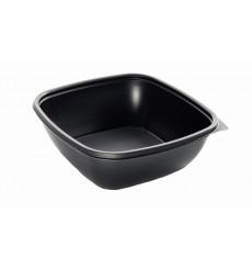 Barquette Plastique PP Carrée Noir 16,5x16,5x6cm (300 Utés)
