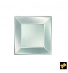 """Plastic bord Plat zilver """"Nice"""" parel PP 18 cm (25 eenheden)"""
