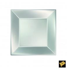 """Plastic bord Plat zilver """"Nice"""" parel PP 23 cm (25 eenheden)"""