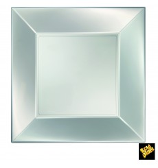 """Plastic bord Plat zilver """"Nice"""" parel PP 29 cm (144 eenheden)"""