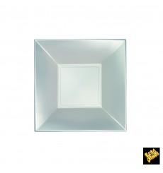 Assiette Plastique Réutilisable Creuse Argentée Pearl PP 180mm (300 Utés)