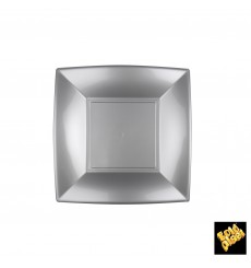 Assiette Plastique Plate Grise Nice PP 180mm (25 Utés)
