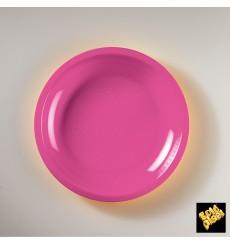 Assiette Plastique Réutilisable Plate Fuchsia PP Ø220mm (50 Utés)