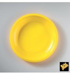 Assiette Plastique Réutilisable Plate Jaune PP Ø220mm (600 Utés)