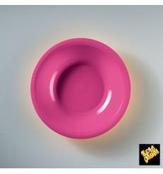 Assiette Plastique Réutilisable Creuse Fuchsia PP Ø195mm (600 Utés)