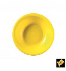 Assiette Plastique Réutilisable Creuse Jaune PP Ø195mm (600 Utés)