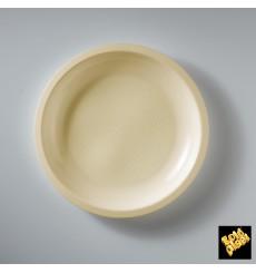 Assiette Plastique Réutilisable Plate Crème PP Ø220mm (50 Utés)