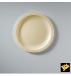 Assiette Plastique Réutilisable Plate Crème PP Ø185mm (50 Utés)