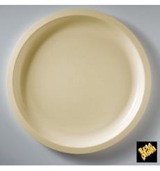 Assiette Plastique Réutilisable Crème PP Ø290mm (300 Utés)